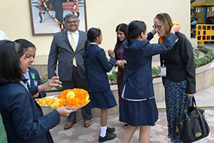 Christine Ozden visiting Indian schools