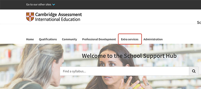 Screenshot of the School Support Hub, showing the 'Extra services' navigation